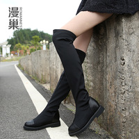 Last Sales!! Stretch fabric over-the-knee boots black pu leather elevator flat high-leg boots flats shoes women motorcycle boots
