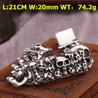 2014 New Fashion Stainless Steel Men's Biker Skull Bracelet Jewelry Free Shipping 2PCS/LOT