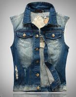 New 2014 A8 spring and summer slim men's clothing male denim vest