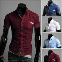 HOT SELL Men's Casual Slim fit Stylish Dress Short Sleeve Shirts high quality men's designer shirts A8685