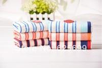 Free Shopping Stripe Children's soft skin-friendly fiber towel Beauty Pure 100% cotton towel boy 50*25CM 3pcs/lot