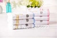 Free Shopping Deer and mushrooms Children's soft skin-friendly fiber towel Beauty Pure 100% cotton towel boy 50*25CM 6pcs/lot