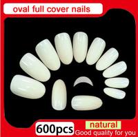 2014 New Arrivals salon DIY natural acrylic nail tips, full cover oval false nails,500 pcs+100 pcs fake nail,free shipping