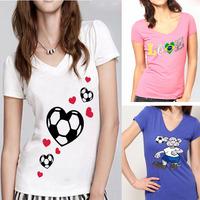 Novel Design World Cup Womens V-Neck Custom Tee Shirt With Short Sleeves Casual Dress