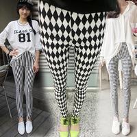 New 2014 Young girl pencil pants black white vertical stripe trousers dimond plaid skinny legging pants Free shipping