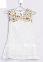 New ! 2014 summer girls vest dress lace sleeveless dress / black and white