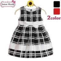 Girls dress children plaid dresses kids grid dress black&white clothes summer wear 2 color for 3-10 years