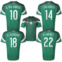 New arrival top Thailand Quality Players version 2014 world cup Mexico home green soccer Football jersey , 14/15 Mexico jerseys