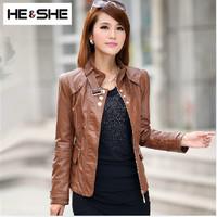 Short Rivet Faux Leather Clothing Jaqueta Couro Plus Size Fashion Slim Motorcycle Pu Leather Jacket Women New 2015 Coat Female