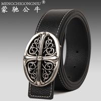 2014 genuine leather strap all-match women's male genuine leather belt brief vintage carved belt