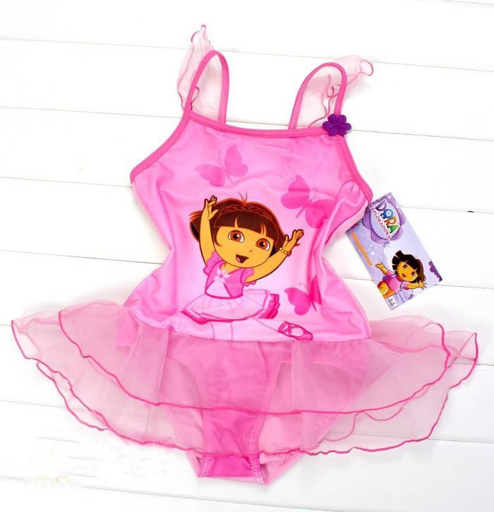 Newest Girls 2-10y Original Dora Baby Tutu Swimsuit Swimwear Beach cute bathing suits Children's Clothing one pieces kids(China (Mainland))