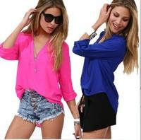 Spring Summer 2014 Temperament Casual Shirt  Women Long Sleeve Chiffon V-neck  Blouse & shirts b1401