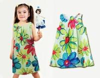 2014 girl dress Flower Painting girl dresses new fashion 100% cotton floral dresses children clothing dresses wholesale 6pcs/lot
