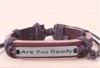 English Inspirational Alloy Braided Leather Bracelet Jewelry