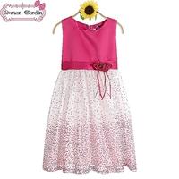 Girls dress children cute dresses kids sleeveless dress double-flowers dress summer wear for 5-12 years