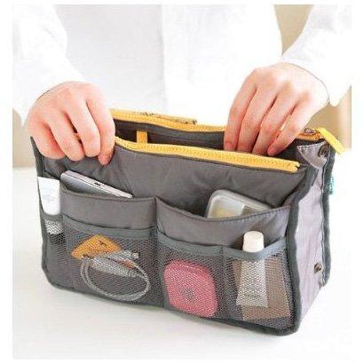 Handbag Pouch Bag in Bag Organiser Insert Organizer Tidy Travel Cosmetic Pocket,Gray(China (Mainland))