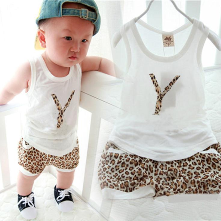 New arrived summer cotton children's clothing set/2-piece set: leopard print letters vest+shorts/2014 fashion boy suit(China (Mainland))