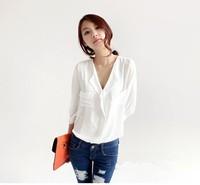 Spring new 2014 Women Temperament Casual Shirt  Chiffon V-neck  Blouse & shirts  b1402