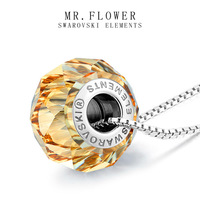 high end jewelry new 2014 famous luxury brand brown round austrian crystal pendant 925 sterling silver necklace women bijouterie