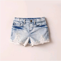 Retail Girls Denim Shorts New 2014 Kids Summer Lace Jeans Shorts for Girls High Quality Brand Fashion Child Denim Short 2-10Y Z