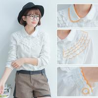 2014 spring and autumn women's peter pan collar white ruffles design patterns slim long-sleeve tee shirt female clothing blouse