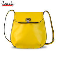 2014 calf skin female casual bags messenger bag candy color