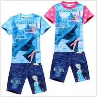 Free shipping! 2014 new 6 sets/lot. Girls fashion Frozen suits (T-shirt + jeans). Children's cartoon suits. Girls summer suit.