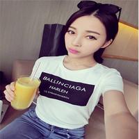 Free Shipping Women Ballinciaga Letter Print Short Sleeve MEN Tee T-shirt HI-FASHION BLACK/ WHITE 850216
