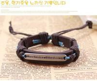 Aspiring To Do Something Inspirational Words Into English Leather Bracelet Brand Jewelry