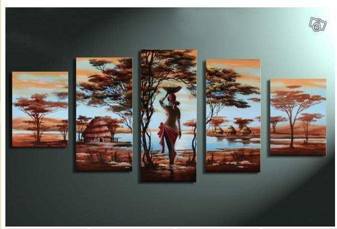 handpainted 5 piece modern landscape oil paintings on