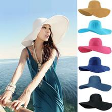 2015 Fashion Summer Women's Ladies' Foldable Wide Large Brim Floppy Beach Hat Sun Straw Hat Cap Women(China (Mainland))