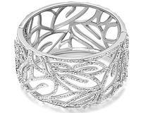 """Frozen"" 925 Sterling Silver Snow Forest  Flower Pattern Style Crystal Vintage Bangle Wedding Women Mother Gifts BAG05021BW"