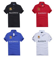 2014 New polo men black big horse short sleeve with NO.2 Logo polo shirt 100% cotton Menswear polo shirt t shirt T01075