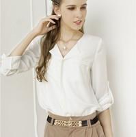 new  2014 summer Casual chiffon Shirt  Foldable Long Sleeve v-neck  women  Blouse & shirts S M L  b1403