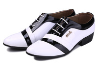 FREE SHIPPING! 2014 white black new men oxfords shoes men dress shoes genuine leather shoes business shoes, size:38-46 hot sale!
