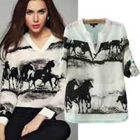 2014 Top Fashion Regular Print Spring New Fashion European Ink Printing Women Tops Chiffon V -neck Sheer Chifon Blouses Camisas