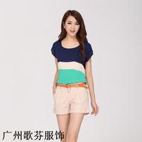 2014 Brand new women's summer chiffon loose short-sleeved round neck fashion t-shirt M L XL