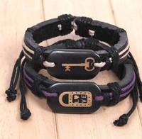 Lock Key Creative Couple Bone Leather Bracelet Jewelry