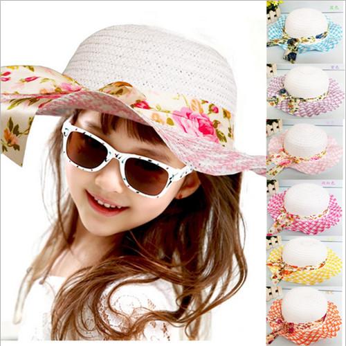 2014 mode heißen kinder mädchen baby bowknot krempe sommer Strand strohhut kappe mit kappe band 0071