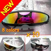 2014 Hot Sports Narrow Cyclops Revo Color Mirrored Lens Visor Sunglasses Bicycle Riding Glasses Goggles