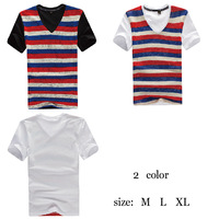Summer Men's clothing,Knitted stripe t-shirt male short-sleeve T-shirt ,WOPA00600,Man t-shirt V-neck,Fashion men t shirt