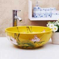 Bathroom wash basin counter basin chinese style flower bowl rustic vanities ceramic 1028