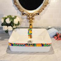 Ceramic home wash station colored drawing fashion wash basin square basin 25