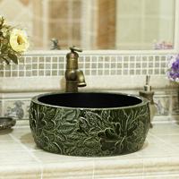 Sculpture peony bathroom wash basin drum antique rustic handbasin jingdezhen ceramic 289