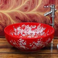 Home art bathroom basin counter basin chinese style ceramic red basin 910