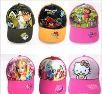 Wholesale 100pcs New Children's Accessories 6 kinds hello kitty Dora  high quality baseball hats  children's Caps Sun hat HAT326