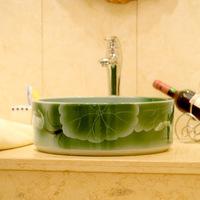 Bathroom wash basin counter basin quality carving straight wash basin ceramic green 042
