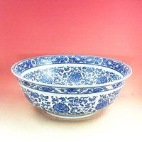 High quality sanitary ware basin ceramic art blue and white porcelain big bowl flower counter basin wash station 017
