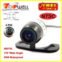 Free Shipping 100% Waterproof Mini Universal Car Rear View Camera with 170 Degree Waterproof Lens