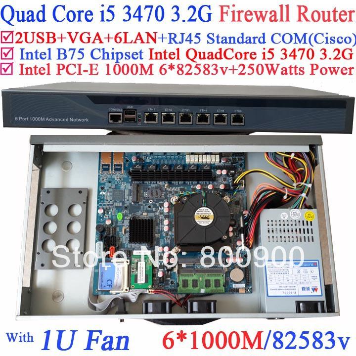 carte buffet platform 1U network server Barebone PC 6 Gigabit 82583v Lan Intel Quad Core i5 3470 3.2G Wayos PFSense ROS support(China (Mainland))